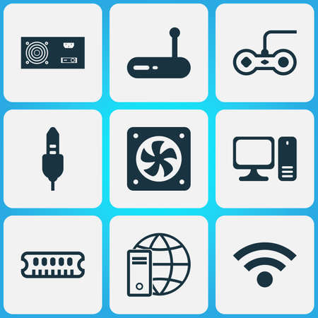 Hardware icons set with audio cable, power supply, personal computer and other wireless