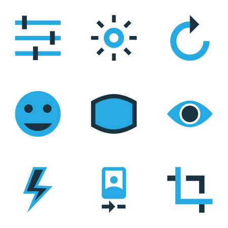 Picture icons colored set with remove red eye, lightning, refresh right and other flash