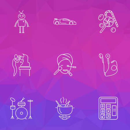 Entertainment icons line style set with headphone, sport car, math and other chatbot  elements. Isolated vector illustration entertainment icons. Stock Illustratie