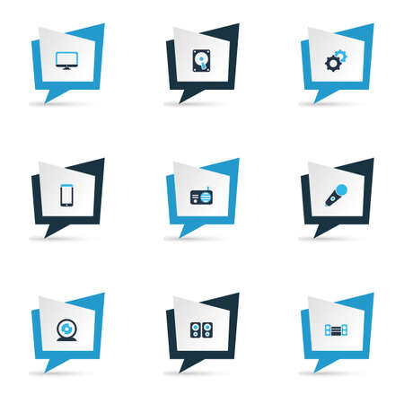 Gadget icons colored set with sound system, hdd, radio and other loudspeaker elements. Isolated vector illustration gadget icons.