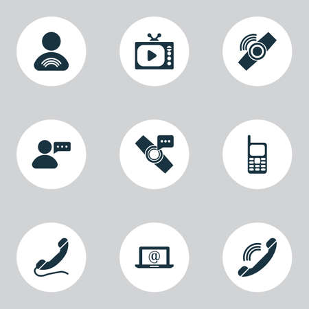 Telecommunication icons set with smart watch notification, handset, user relationship wearable  elements. Isolated vector illustration telecommunication icons.