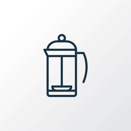 French press icon line symbol. Premium quality isolated teatime element in trendy style. Çizim