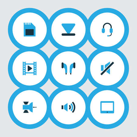 Media icons colored set with arrow down, satellite, earphone and other palmtop