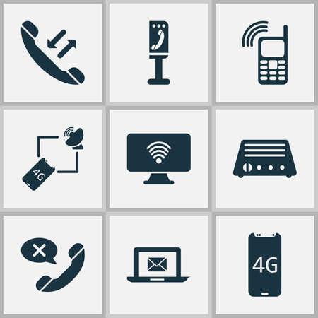 Iconos de telecomunicaciones con cancelación de llamada, teléfono inteligente 4g, radio y otros elementos fm. Iconos de telecomunicaciones de ilustración vectorial aislado.