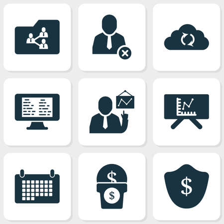 Job icons set with money growth, calendar, protection and other shield  elements. Isolated  illustration job icons.