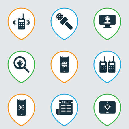 Telecommunication icons set with 3g smartphone, newspaper, portable radios and other daily press