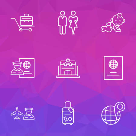 Travel icons line style set with globe with pin, baby room, toilet and other child  elements. Isolated vector illustration travel icons.