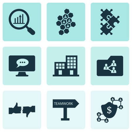 Team icons set with blockchain, analytics, team honeycomb and other protection