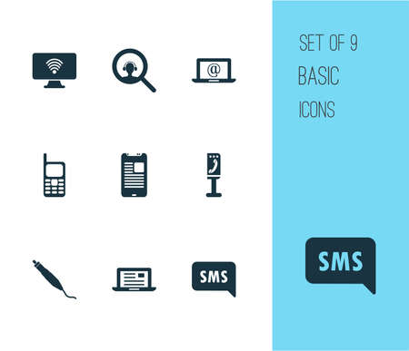 Connection icons set with sms notification, search dispatcher, connector plug and other magnifier