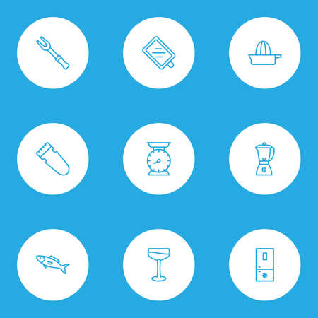 Cook icons line style set with blender, freezer, orange squeezer and other smoothie   elements. Isolated vector illustration cook icons.