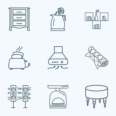 Furniture icons line style set with carpet, toaster, ottoman and other bookshelf elements. Isolated vector illustration furniture icons.