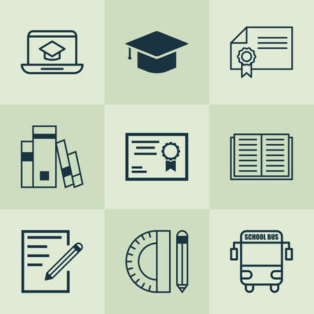 School icons set with online education, diploma, hat and other paper  elements. Isolated vector illustration school icons.