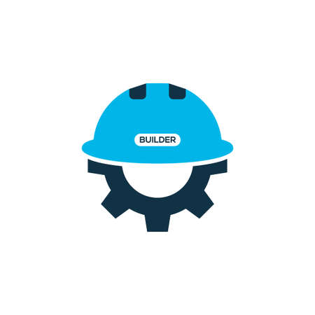 Builder icon colored symbol. Premium quality isolated gear with helmet element in trendy style.