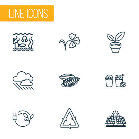 Harmony icons line style set with cacao nut, bio energy, alternative energy and other underwater