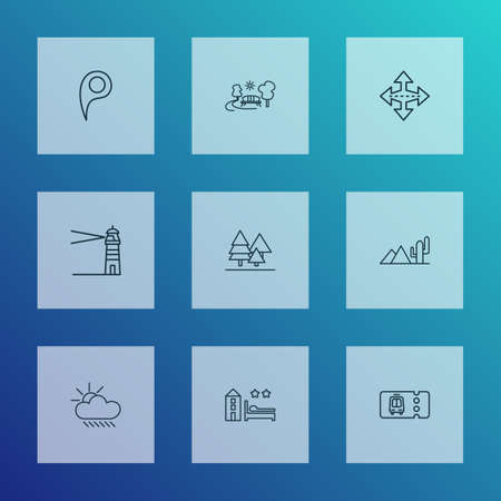 Public. Skyline icons line style set with weather, lighthouse, park and other position elements. Isolated vector illustration public. Skyline icons.