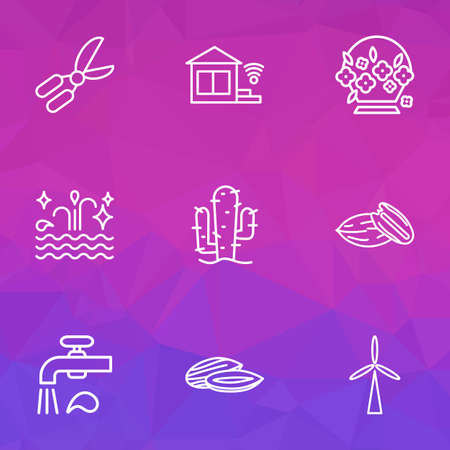 Nature icons line style set with clean water, water crane, almond and other sea  elements. Isolated vector illustration nature icons.