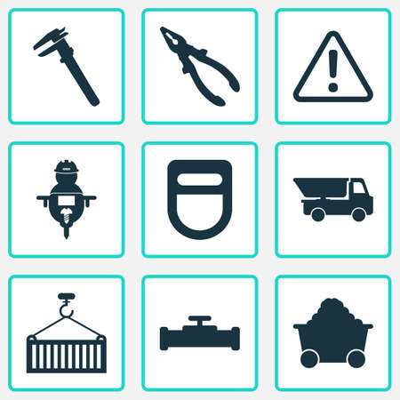 Industry icons set with man with drill, calipers, truck and other workman