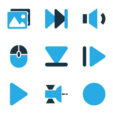 Music icons colored set with record, megaphone, play and other volume down  elements. Isolated vector illustration music icons.