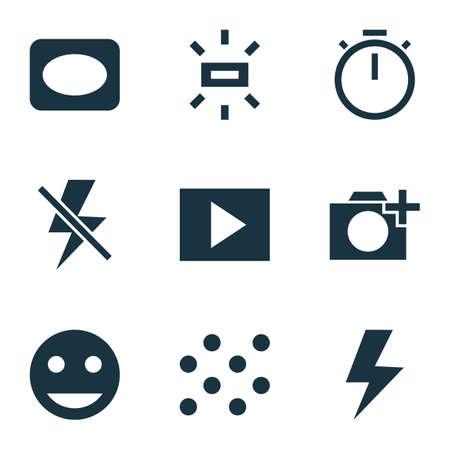 Iconos de imagen con viñeta, patrón, agregar una foto y otros elementos del marco.