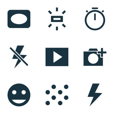 Picture icons set with vignette, pattern, add a photo and other frame elements. 版權商用圖片