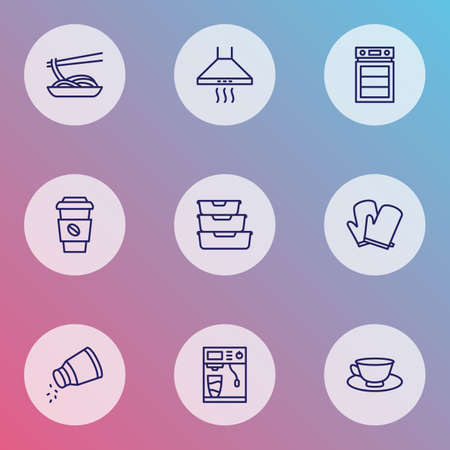 Gastronomy icons line style set with kitchen gloves, food containers, salt and other stove elements.