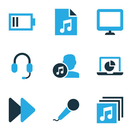 Music icons colored set with earphone, song list, low battery and other microphone  elements. Isolated vector illustration music icons.