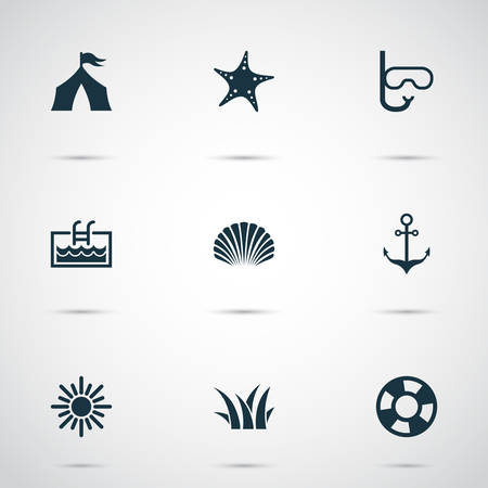 Summer icons set with sun, swimming mask, shell and other camp   elements. Isolated vector illustration summer icons. Illustration