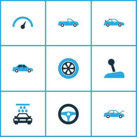 Auto icons colored set with drive control, stick, crossover and other speedometer  elements. Isolated vector illustration auto icons.