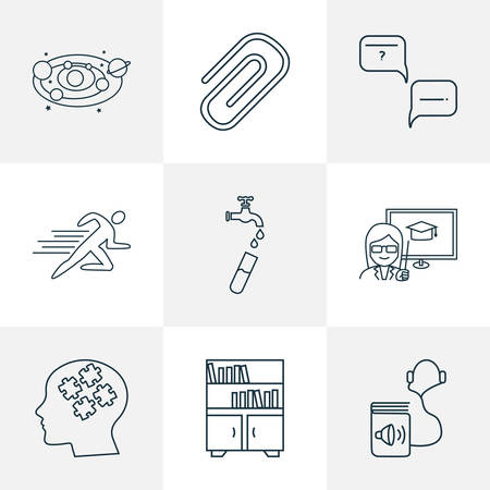 School icons line style set with astronomy, informatics, audio book and other solar system   elements. Isolated vector illustration school icons.