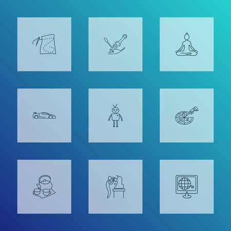 Hobby icons line style set with tea set, yoga, pizza and other computer