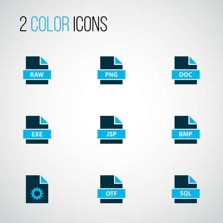 Types icons colored set with file exe, file sql, fie raw and other software