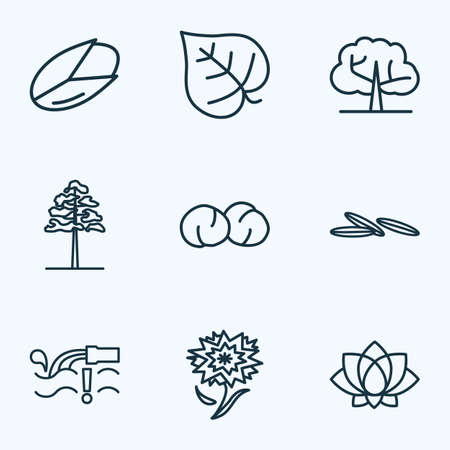 Nature icons line style set with pine, chickpeas, lotus and other waste  elements. Isolated  illustration nature icons.