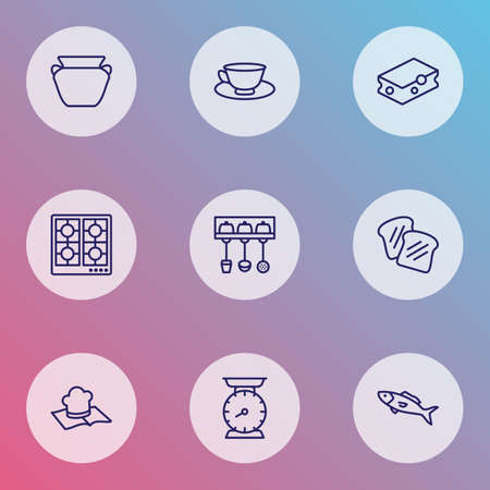 Gastronomy icons line style set with cleaning sponge, utensil holder, toast bread and other weight