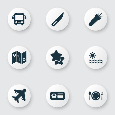 Journey icons set with aircraft, bus, restaurant and other favorite  elements. Isolated vector illustration journey icons. Illustration