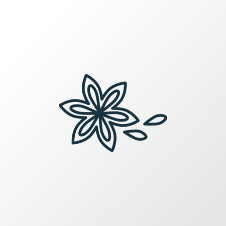 Simbolo di linea dell'icona di anice stellato. Elemento di cannella isolato di qualità Premium in stile alla moda. Vettoriali