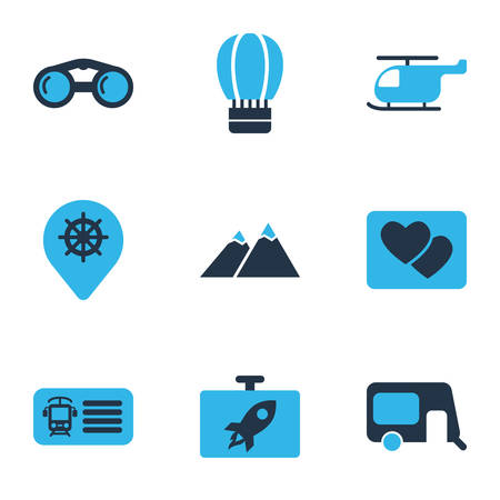 Trip icons colored set with binoculars, helicopter, train ticket and other rocket   elements. Isolated vector illustration trip icons.
