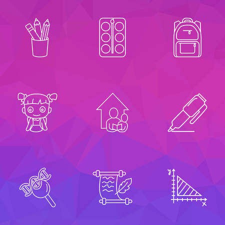 School icons line style set with school backpack, geometry, marker and other schoolchild elements. Isolated vector illustration school icons.