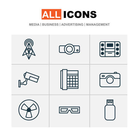 Gadget icons set with cctv, 3d glasses, music player and other ventilator  elements. Isolated  illustration gadget icons.