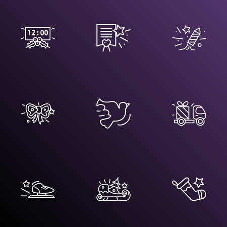 New icons line style set with christmas stocking, gift delivery, sleigh and other paper  elements. Isolated vector illustration new icons. Vettoriali