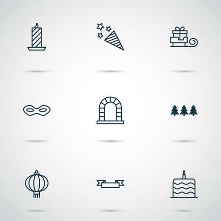 Christmas icons set with chinese lantern, trees, festive mask and other fire wax  elements. Isolated vector illustration christmas icons. Illustration