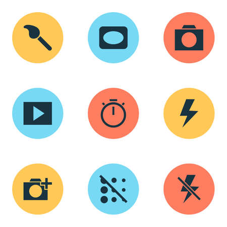 Image icons set with circle, vignette, timer and other paintbrush elements. Isolated vector illustration image icons. Foto de archivo