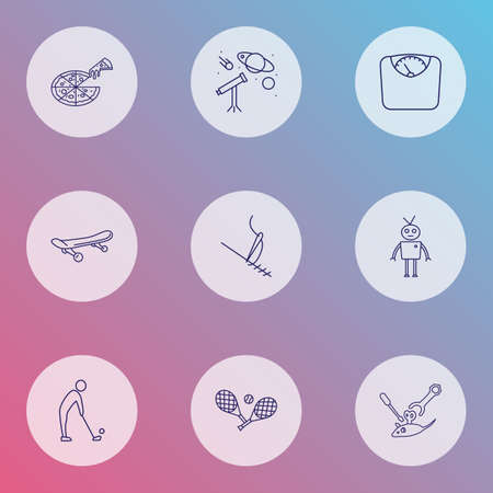 Lifestyle icons line style set with stitching, robots, tennis and other maintenance