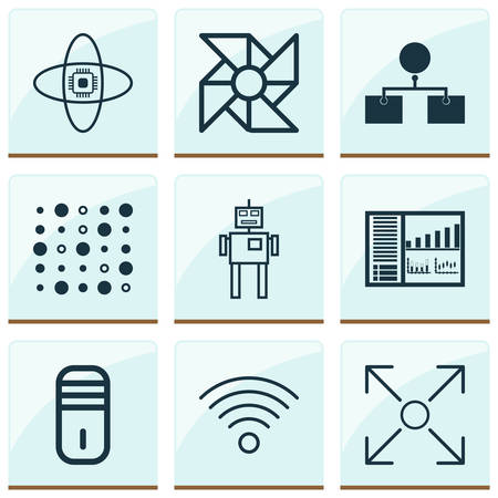 Machine icons set with processor, computer cooler, analysis design and other branching program 