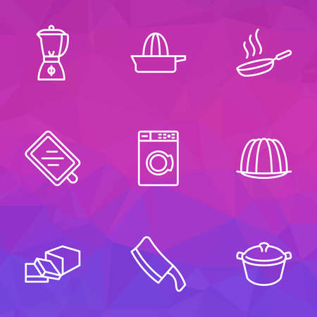 Cooking icons line style set with orange squeezer, pudding, chopping knife and other wooden  elements. Isolated vector illustration cooking icons.