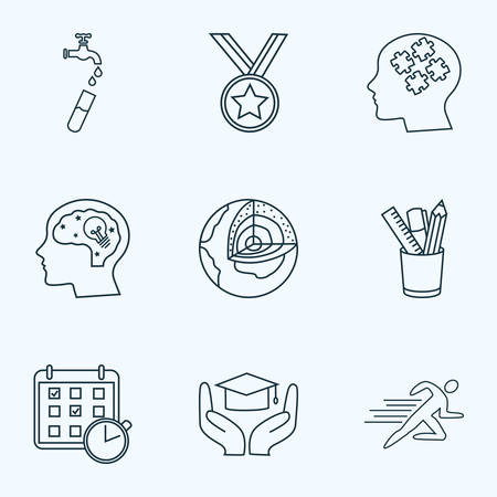 School icons line style set with hydrology, geology, learning support and other agenda   elements. Isolated vector illustration school icons.