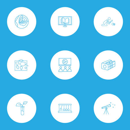 Education icons line style set with webinar, telescope, online reading and other sharpen