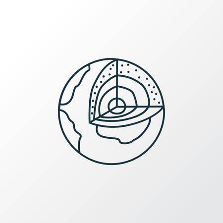 Symbole de ligne d'icône de géologie. Élément de structure de terre isolée de qualité Premium dans un style branché.