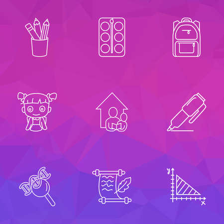 Education icons line style set with school backpack, geometry, marker and other schoolchild  elements. Isolated  illustration education icons.