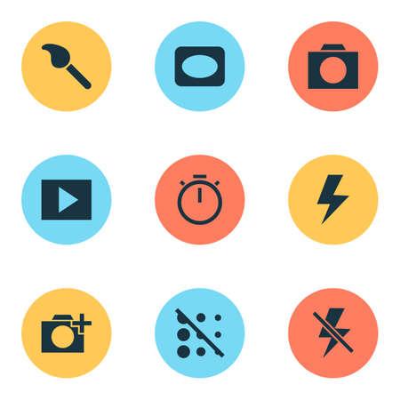 Iconos de imagen con círculo, viñeta, temporizador y otros elementos de pincel. Iconos de imagen de ilustración aislada.