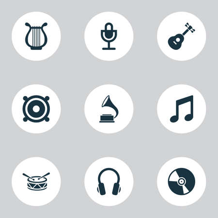 Multimedia icons set with harp, guitar, speaker and other music  elements. Isolated vector illustration multimedia icons. Vettoriali